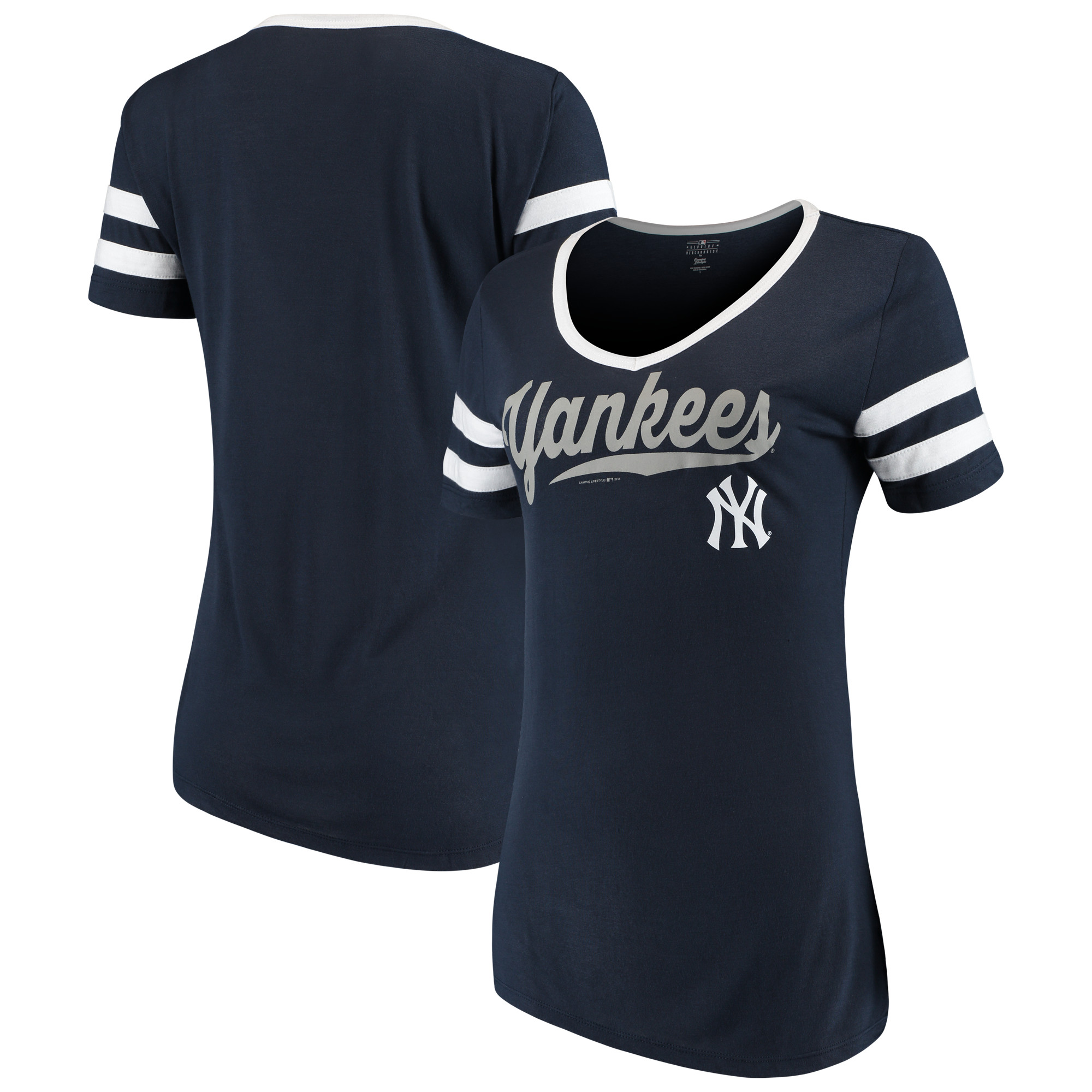 the best attitude 92c2a 54d1a Women's New Era Navy New York Yankees Jersey V-Neck T-Shirt