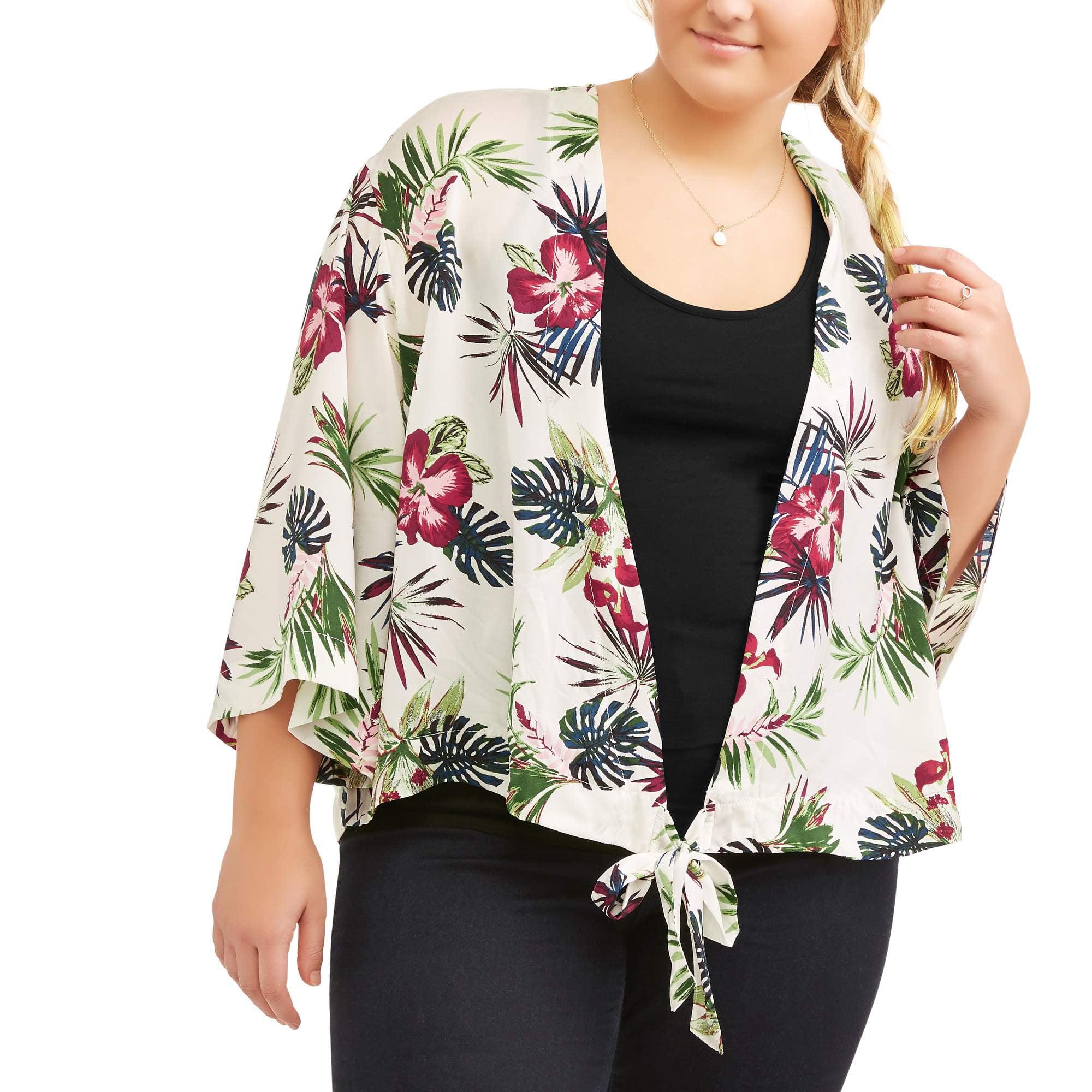 Junior's Plus Tropical Print Wrap Kimono