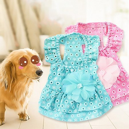- Pet Princess Dress Cotton Lace Flower Skirt For Dog in Summer 1 Pcs