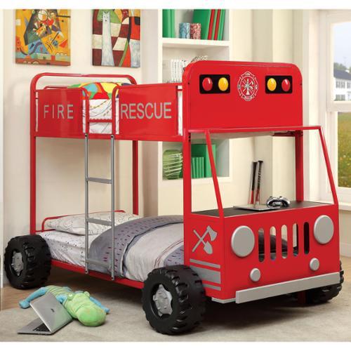 Furniture of America  Rescue Team Fire Truck Metal Twin/ ...