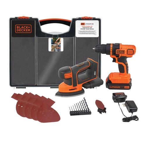 BLACK+DECKER 20-Volt MAX* Cordless Drill & Mouse Sander Combo Kit, BCK202C1KWM