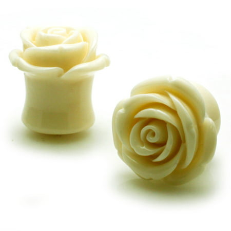 Acrylic Tunnel White Rose Double Flared Ear Plugs Body Jewelry