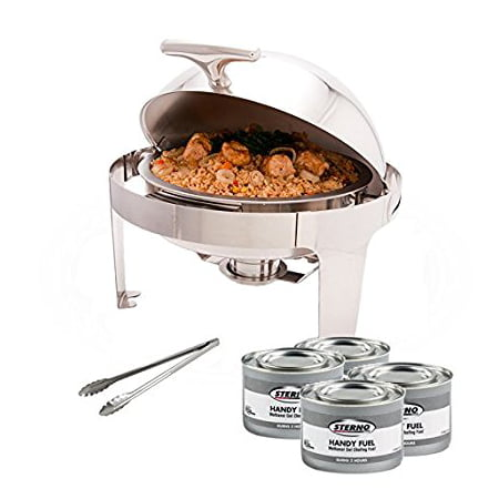 ProstoWare PWR-1RR, Round Roll-Top Chafer with Stand, Stainless Steel 5 Quart Chafing Dish Set with 4 Chafing Dish Methanol Gel Fuels and 16-Inch Stainless Steel Multi-Function Tong