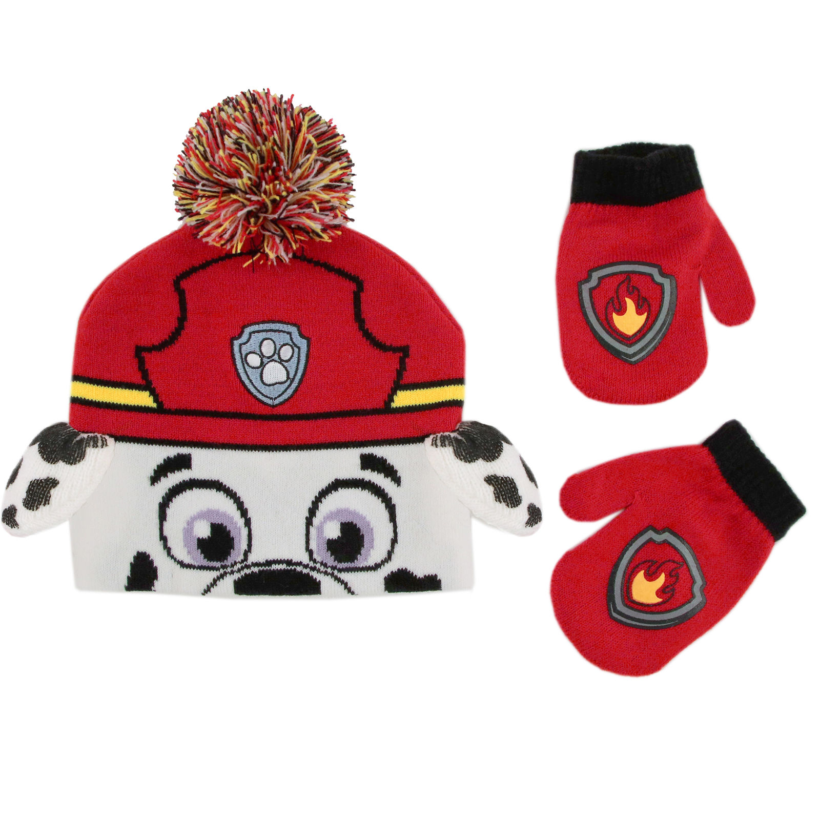 blue Nickelodeon Boys Toddler Paw Patrol Beanie Hat and Mittens Cold Weather Set Age 2-4