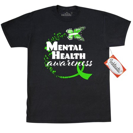 Inktastic Mental Health Awareness Butterfly And Green Ribbon T-Shirt Month Support Family Friends Care Mens Adult Clothing Apparel Tees (Cars Apparel)