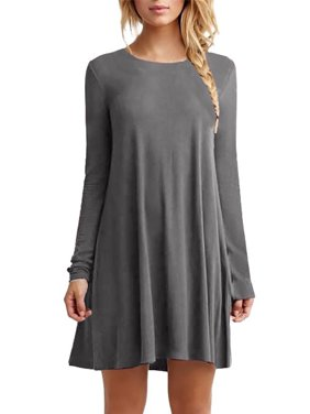 13067657dcf Product Image Ropalia Woman Long Sleeve Solid Color Round Neck Midi Dress