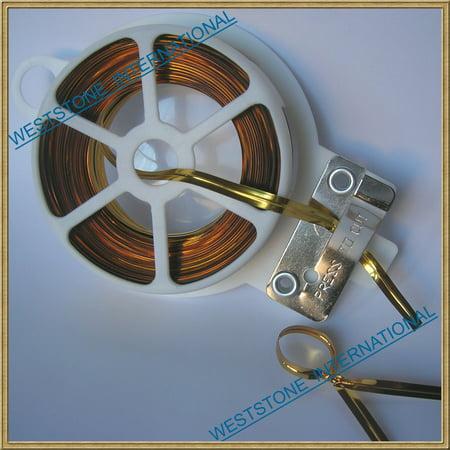 - 65ft (20m) Bright Gold Metallic Twist Tie Roll with Cutter - Qty 1