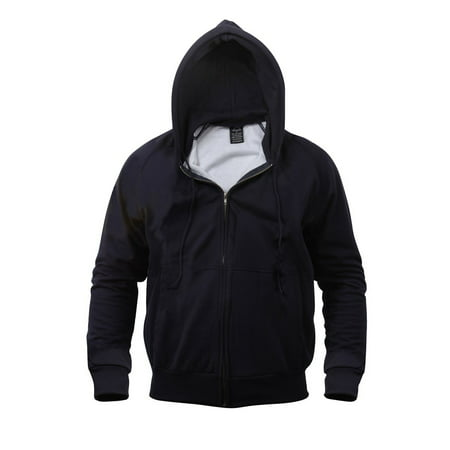 Thermal Lined Zipper Hooded Sweatshirt, Navy Blue, XL