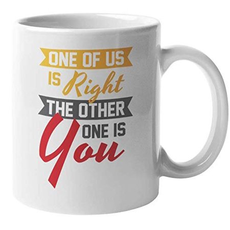 One Of Us Is Right The Other One Is You Witty Sarcasm Coffee & Tea Gift Mug For A Teacher, Instructor, Colleague, Best Friend, Brother, Sister, Mom, Dad, Wife, Husband, Men, And Women