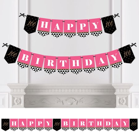 Chic 100th Birthday - Pink, Black and Gold - Birthday Party Bunting Banner - 100th Party Decorations - Happy Birthday - Happy Birthday Chica
