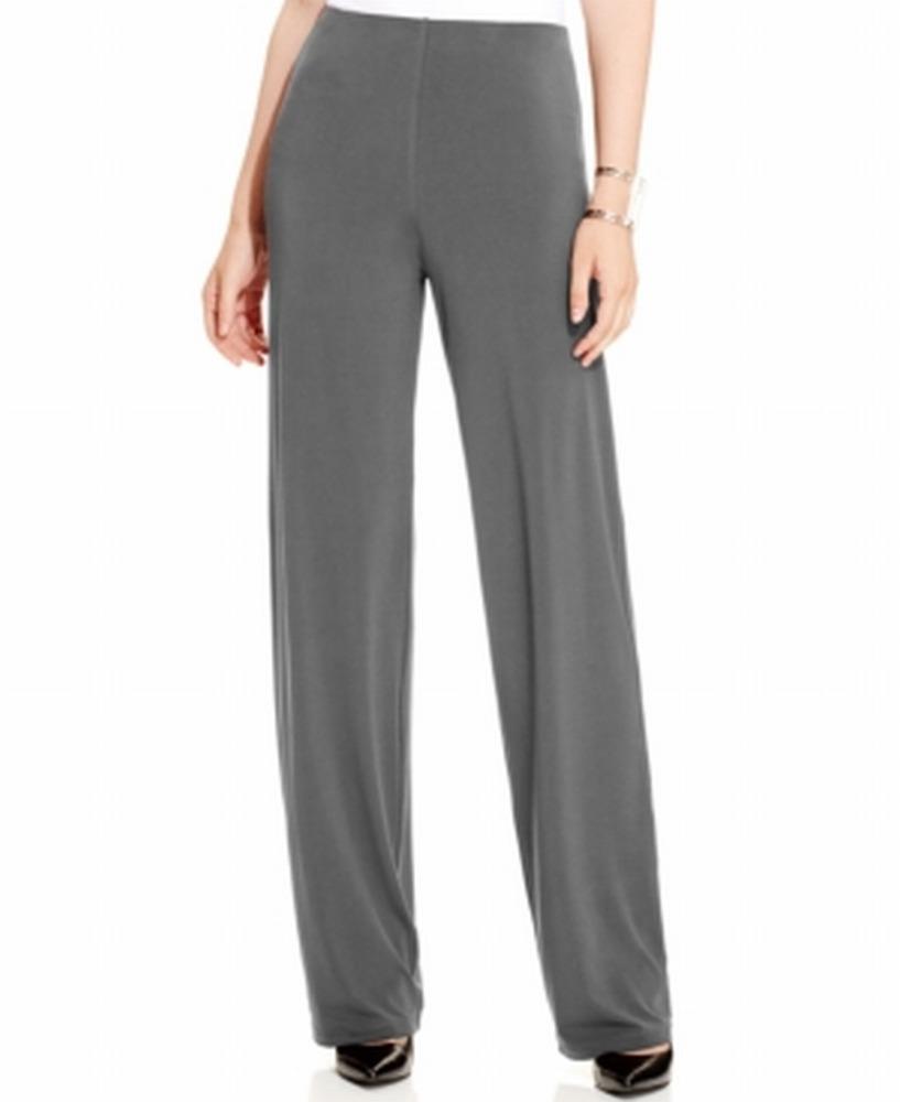 Alfani NEW Gray Cinder Womens Size XL Wide-Leg Knit Stretch Dress Pants