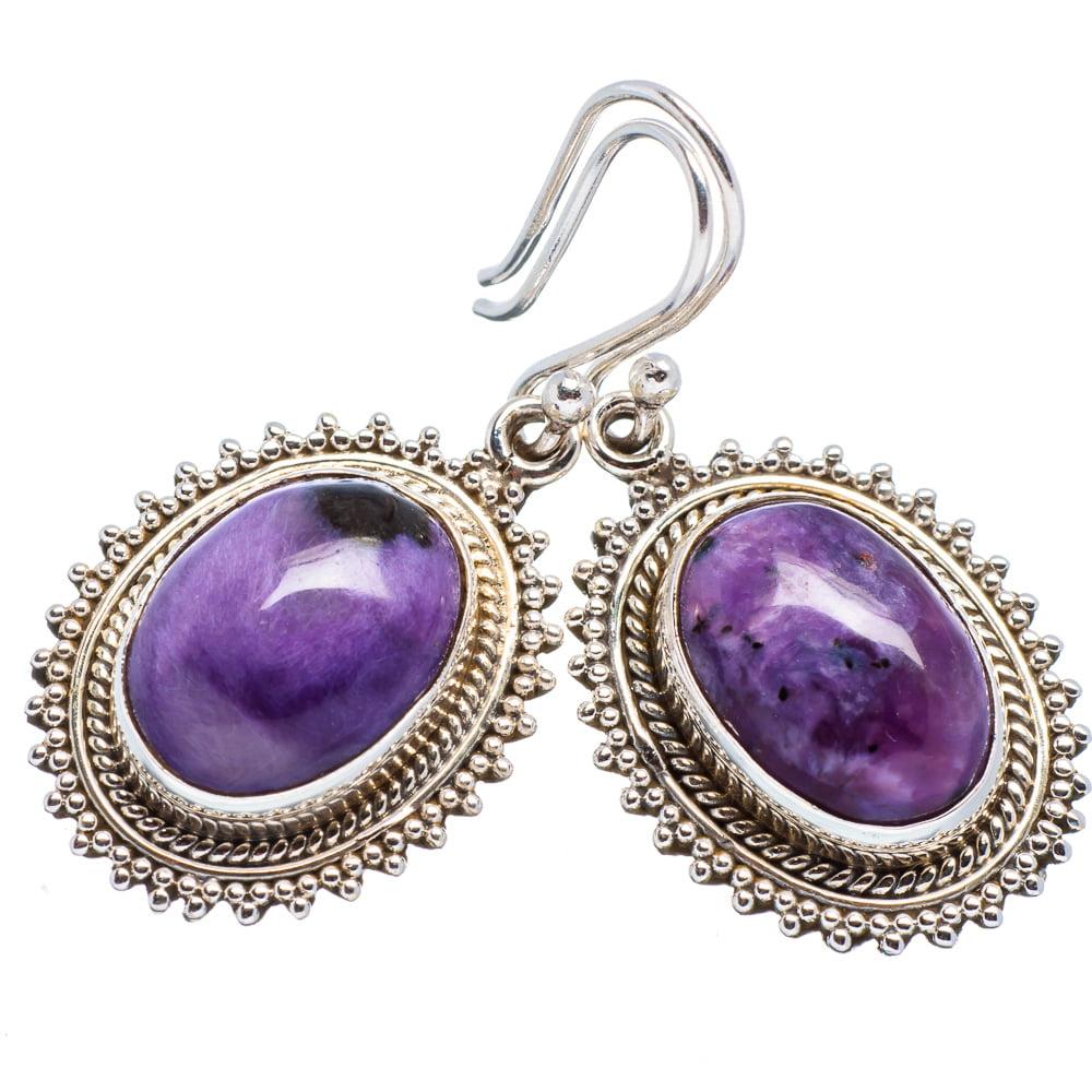 "Ana Silver Co Rare Charoite 925 Sterling Silver Earrings 1 1/2"" EARR354125"