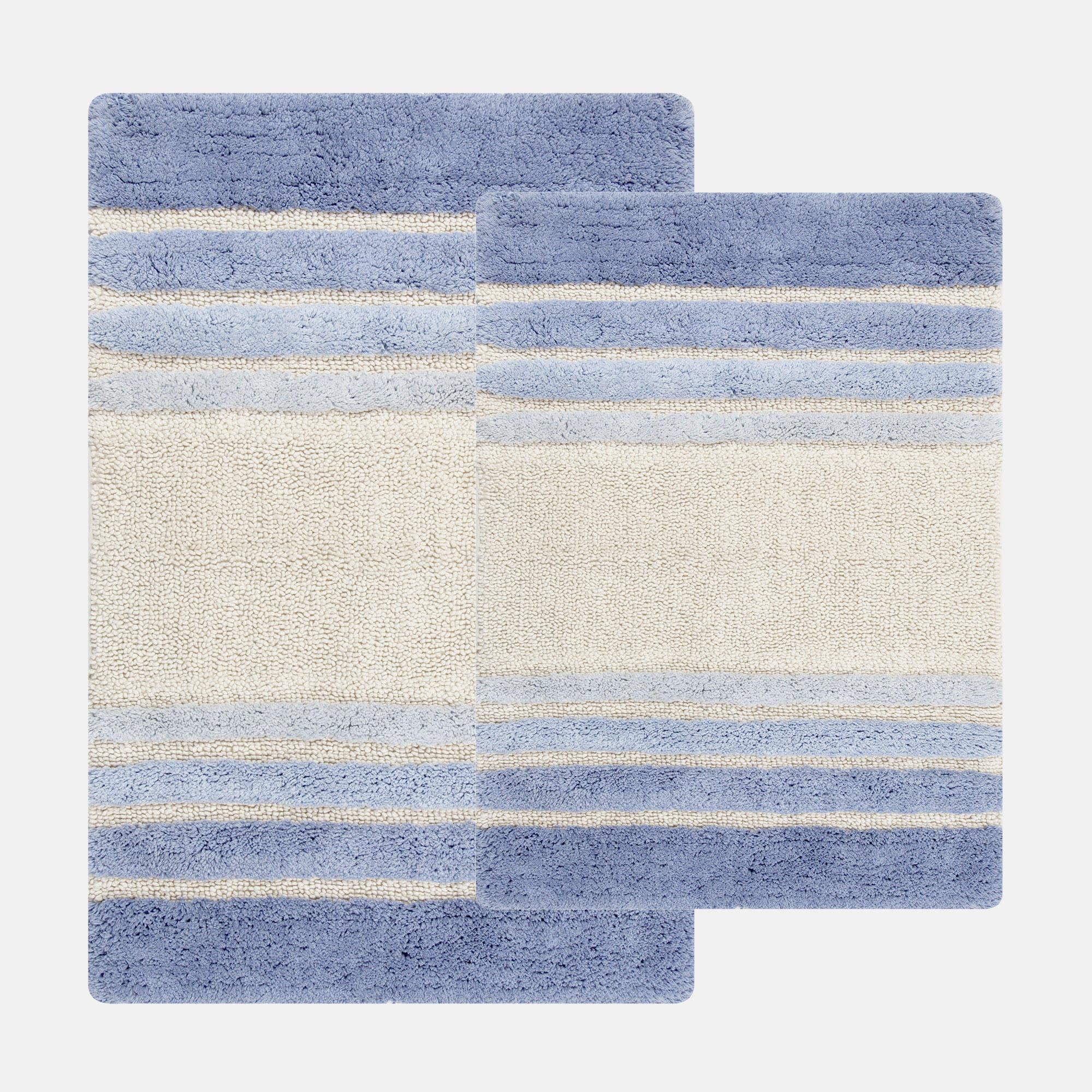Chesapeake Merchandising Blue Tuxedo Stripe 2-pc. Bath Rug Set