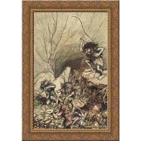 Alberich drives in a band of Niblungs laden with gold and silver treasure 19x24 Gold Ornate Wood Framed Canvas Art by Rackham, Arthur