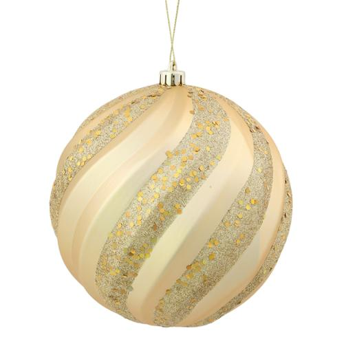 "Vegas Gold Glitter Swirl Shatterproof Christmas Ball Ornament 6"" (150mm)"