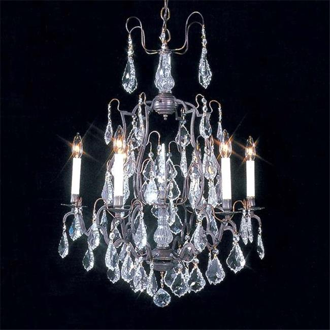 Upscale Chandelier 483015-6FG 6-Light Versailles Antique Reproduction Chandelier with French Pendeloque Trimming -