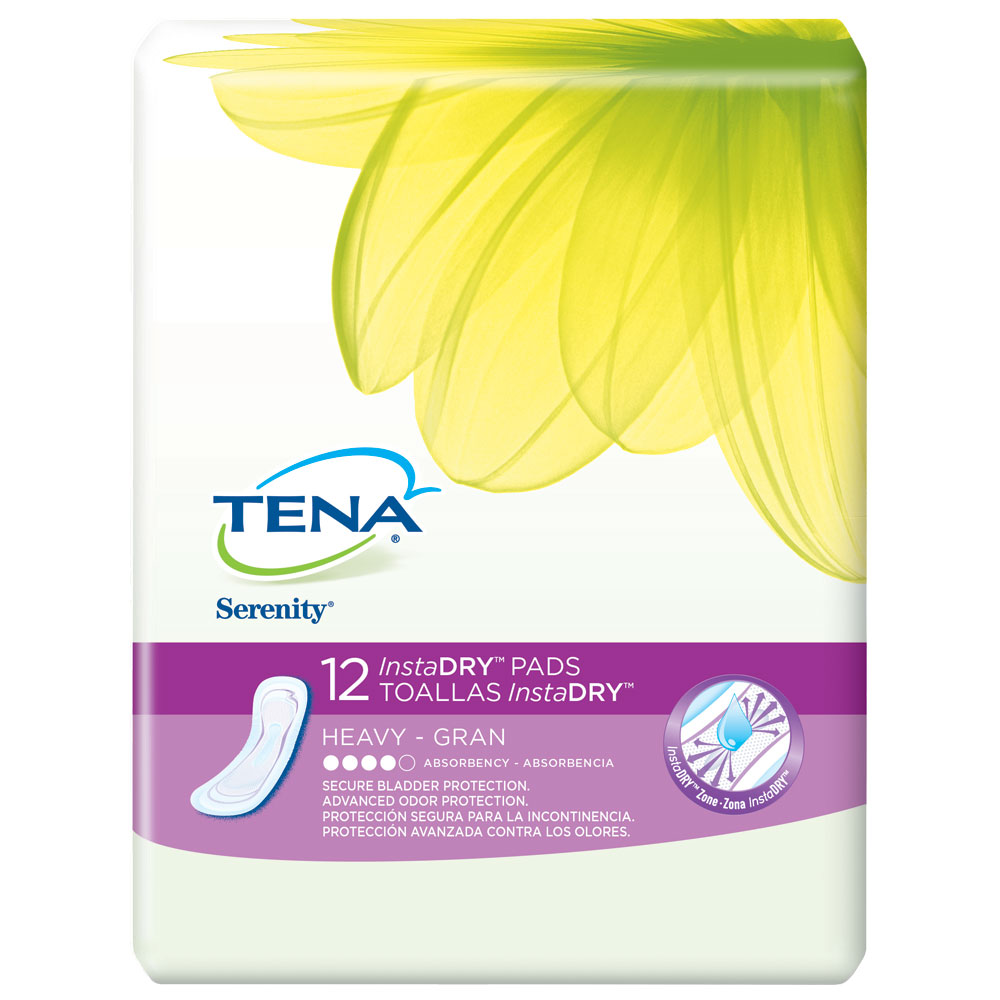 Tena Incontinence Pads, InstaDRY Heavy, Regular, 12 Ct