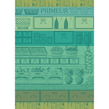 Garnier Thiebaut Towel - Garnier Thiebaut, Primeurs Vert (Early Fruit & Vegetables, Green) Woven French Kitchen / Tea Towel, 100 Percent Cotton, 100% Cotton By GarnierThiebaut