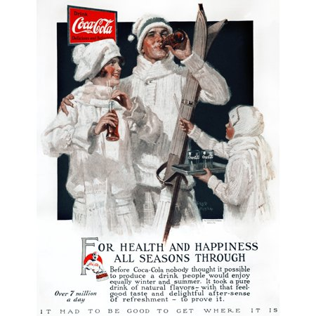 Coca Cola Ad 1927 Nfor Health   Happiness All Season Through American Advertisement For Coca Cola 1927 Rolled Canvas Art     24 X 36