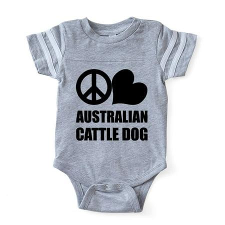 CafePress - FIN Peace Love Australian Cattle Dog Baby Football - Cute Infant Baby Football Bodysuit - Skeleton Onesie Australia