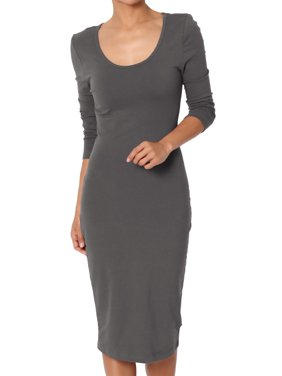 TheMogan Junior's Stretchy Cotton 3/4 Sleeve Scoop Neck Bodycon Midi Dress