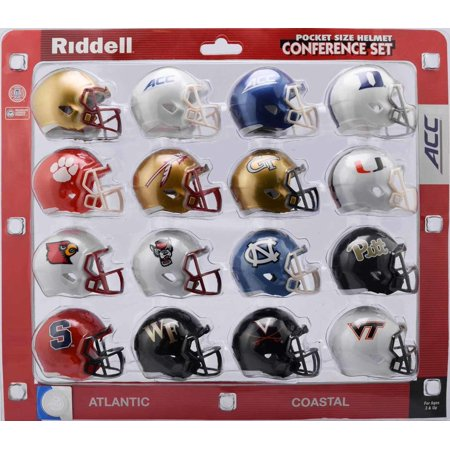 NCAA Pocket Pro Helmets, Acc Conference Set, (2018) New, ALL CONFERENCE TEAMS INCLUDED: mini helmet sets include 2 inch replica helmets of all members of the ACC. By Riddell