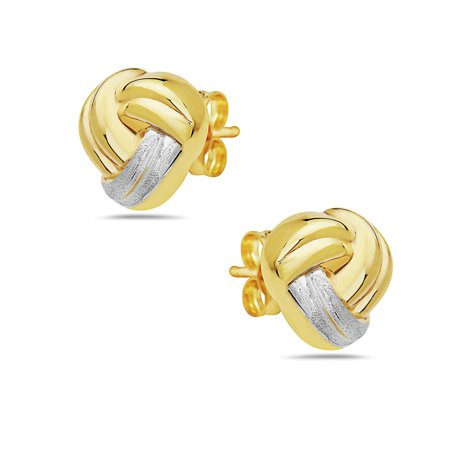 14k Tri Color Gold Love Knot Studs