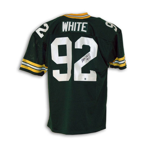 NFL - Reggie White Green Bay Packers Autographed Green Throwback Jersey Inscribed with a Bible Verse