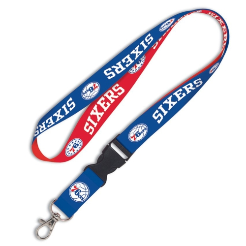 Philadelphia 76ers WinCraft Wordmark Lanyard with Detachable Buckle - - No Size