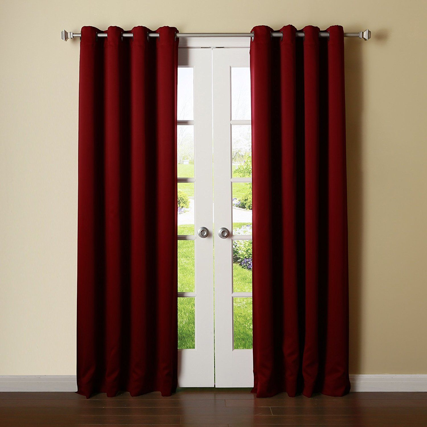 "Amy Solid Thermal Blackout Sun-Reflecting Shiny-Back Grommet Window Curtain 63"" Long Set of Two (2) - Burgundy"