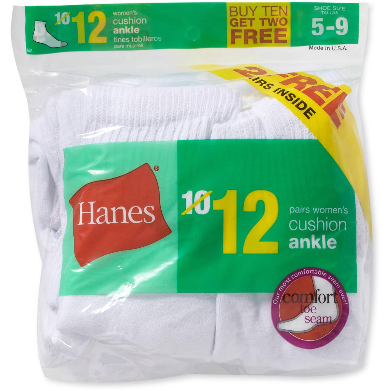 Hanes Ladies Cushioned Ankle Socks, 10 + 2 Bonus Pack