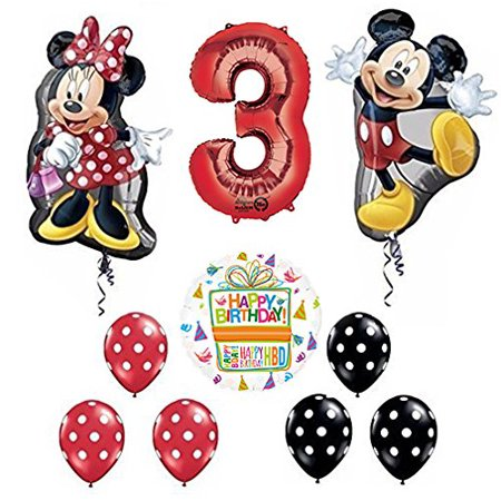 Mickey and Minnie Mouse Full Body 3rd Birthday Supershape Balloon Set - Balloon Decor Mickey Mouse Theme