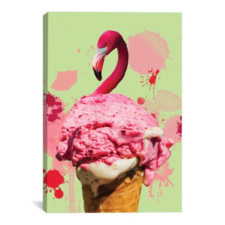 "Flamingo Ice Cream Artwork | Choose from Canvas or Art Print | Living Room, Bedroom, Office, Bathroom Wall Decor Art Ready to Hang Para El Hogar Decoracion | 48"" x 32"" - Decoracion Para Halloween De Papel"