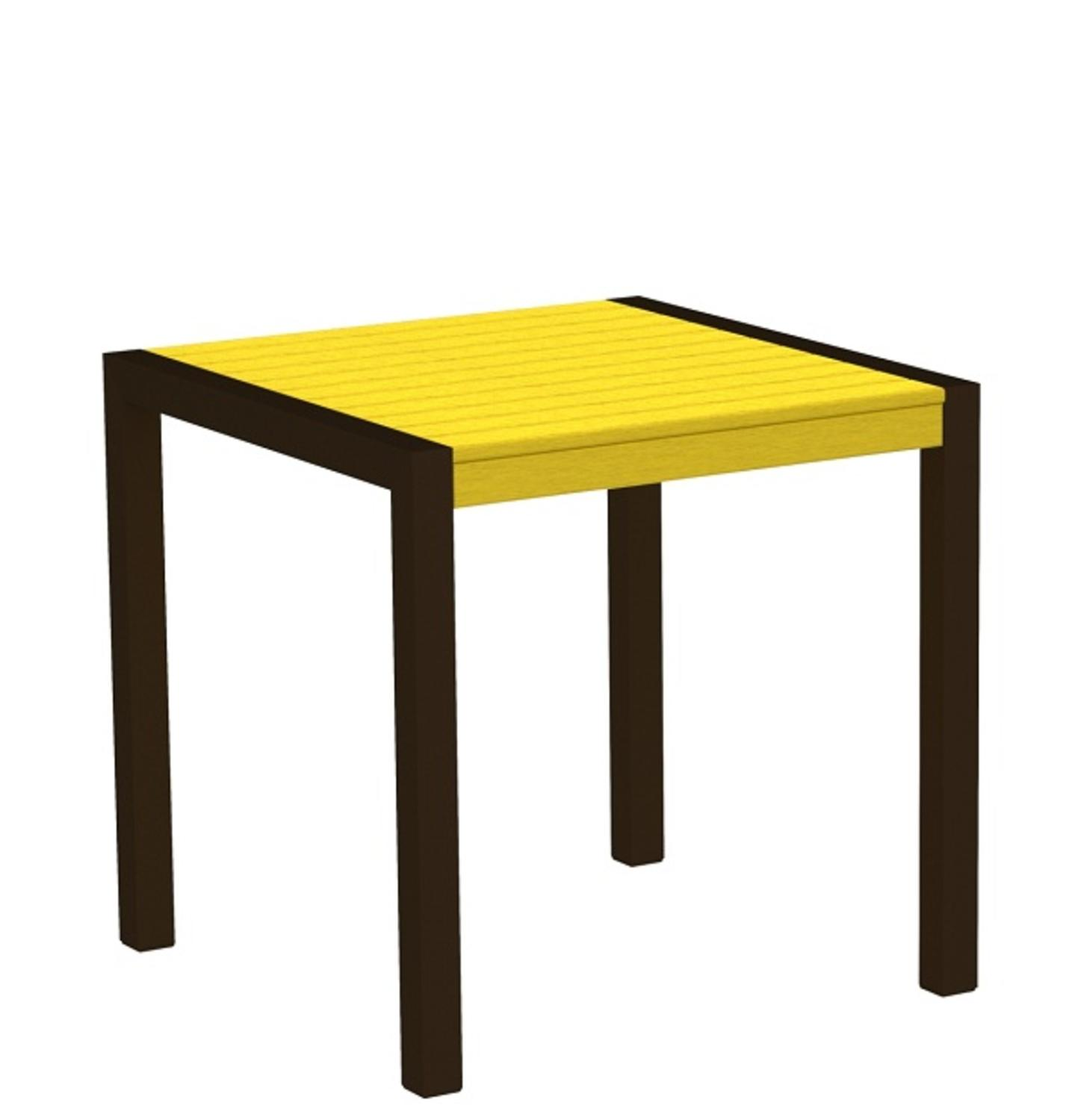 "30"" Recycled Earth-Friendly Outdoor Bistro Table -Lemon Yellow with Bronze Frame"