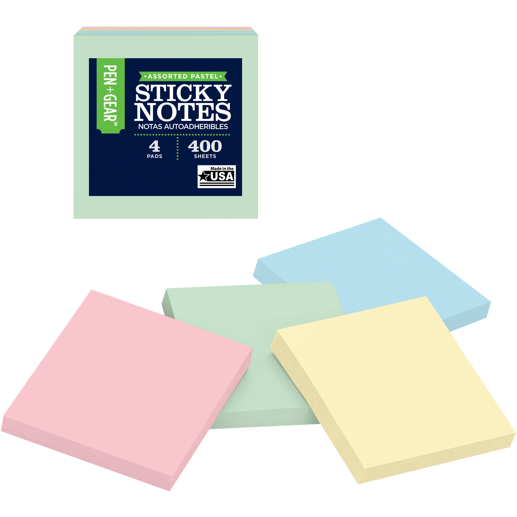 "3"" x 3"" Self-Stick Notes, 100-Sheets/Pad, 4ct"