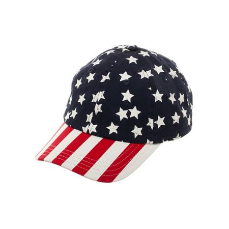 Bioworld - Boy s Americana Stars and Stripes Curved Bill Baseball Hat with Stars  Crown and Striped Bill - Walmart.com 63f94581a83b