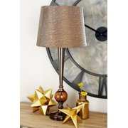 "Decmode - Modern Style Bronze Metal Table Lamp with Copper Glass Ball Accent & Textured Metallic Drum Shade, 6"" x 29"""