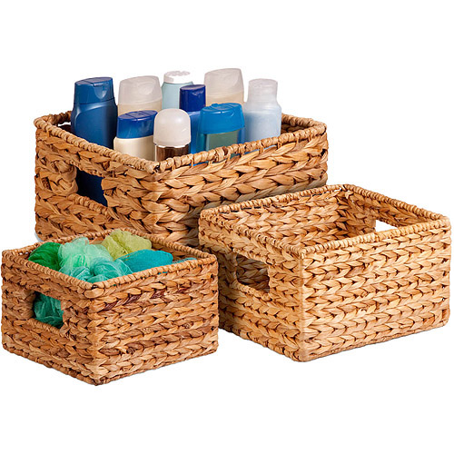Honey Can Do Durable Nesting Water Hyacinth Baskets, Brown (Set of 3)