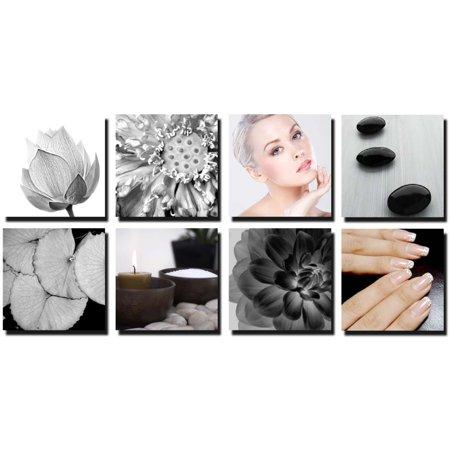 LOTUS 8 Pc Beauty Salon Spa Massage Decal Decoration 24 x 24 Canvas Mural CM-LO - Salon Decorations