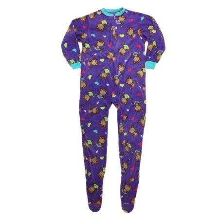Girls Plush Purple Monkey Hearts Blanket Sleeper Footed - Ladies Monkey Onesie