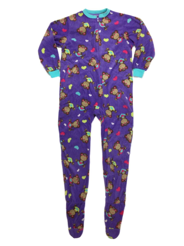Girls Plush Purple Monkey Hearts Blanket Sleeper Footed Pajamas
