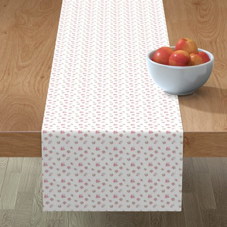 Table Runner Rose Pink Flowers Vintage Nursery Cottage Chic Cute Cotton Sateen