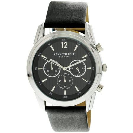 Silver Watch White Leather Belt (Men's KC50229001 Silver Leather Japanese Quartz Fashion Watch)