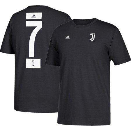 adidas Men's Juventus Cristiano Ronaldo #7 Black Player T-Shirt (Adidas Block Tshirt)