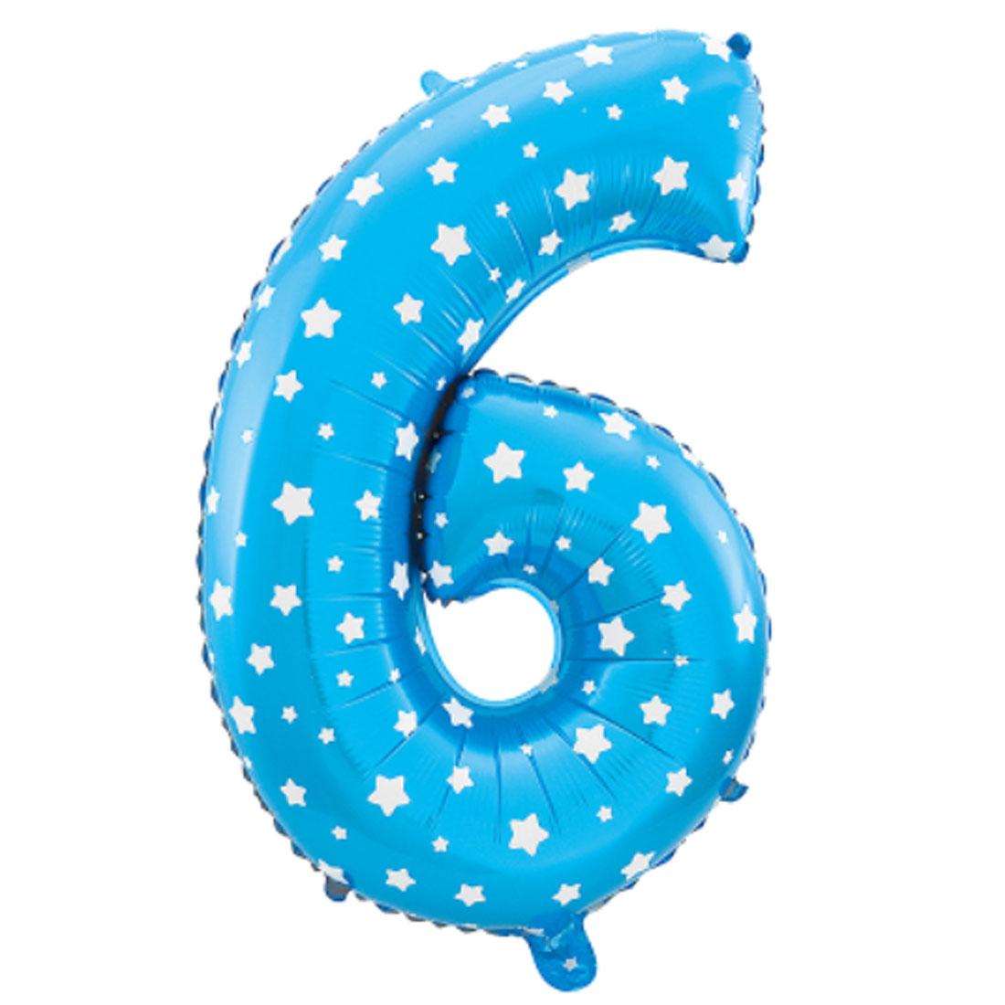 "Unique Bargains 16"" Blue Foil Number 6 Shape Balloon Helium Birthday Wedding Decor"