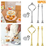 TSV 10 Set 3 Tier Cupcake Plate Stand Rack, Total 8.27x1.89inch, Porcelain China Serving Platter Cake Plate Stand Dessert Display Cakes Platter Food Rack Cupcake Stand for Party Wedding (Gold/Silver)