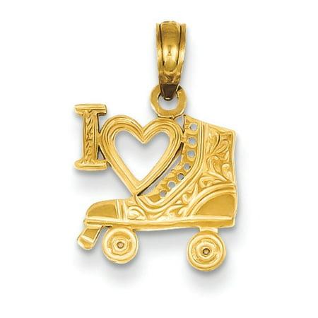 14k Roller - 14k Gold I Heart Pendant Roller Skating