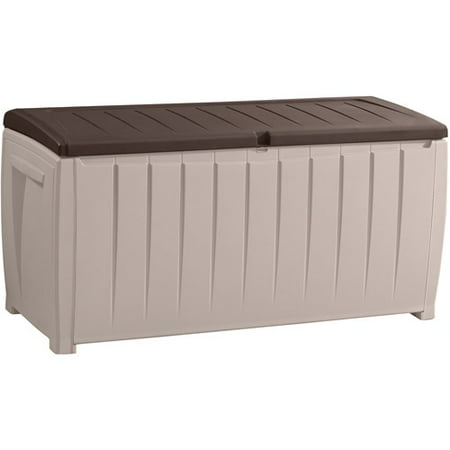 Keter Novel Outdoor Plastic Deck Storage Container Box 90 Gal, Brown