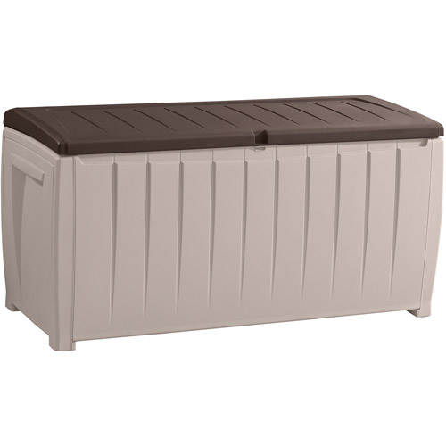 Keter Novel Outdoor Plastic Deck Box, All Weather Resin Storage, 90 Gal,