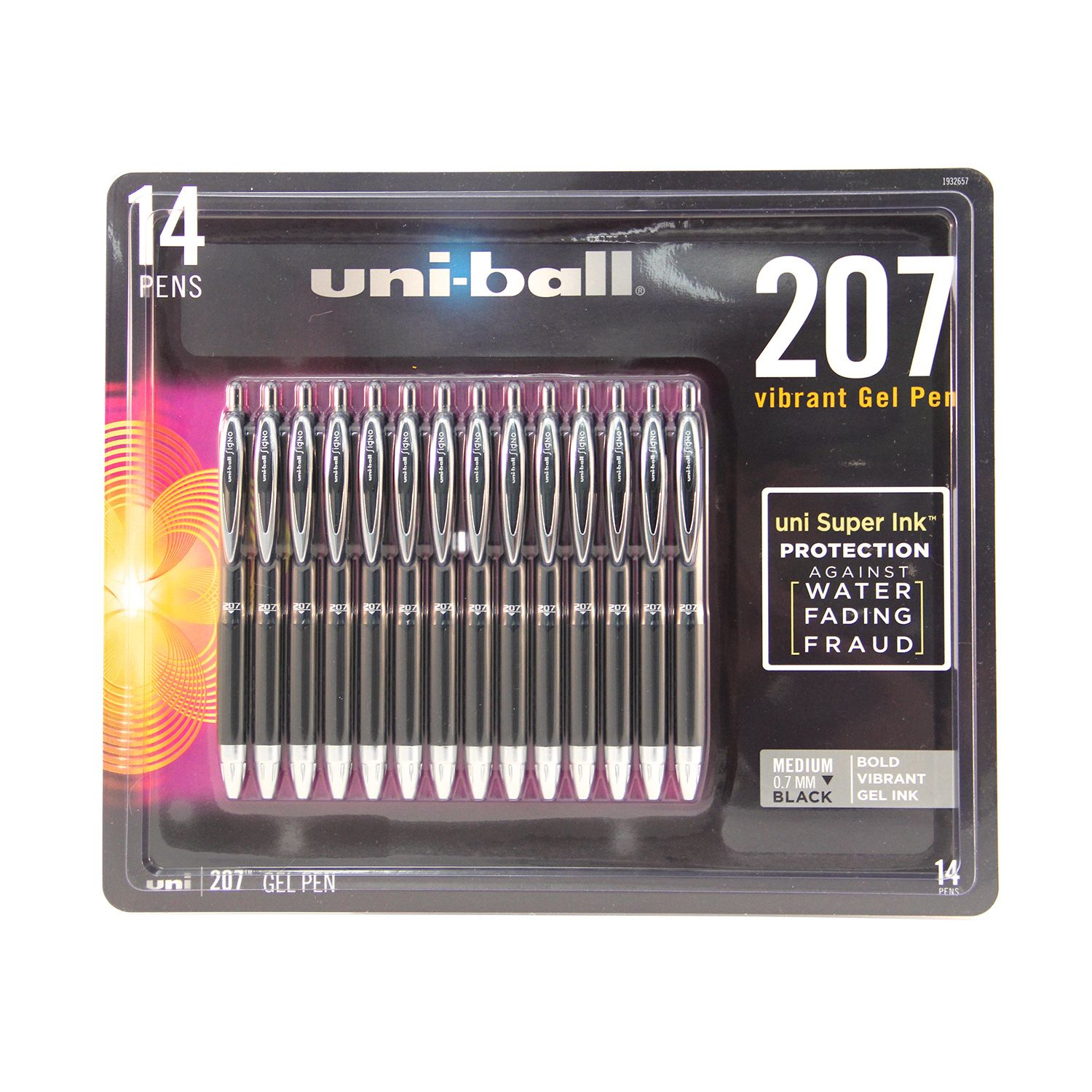 uni-ball 207 Retractable Roller Ball Gel Pen, Medium Point, Black, 14ct.